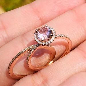 10k Solid Rose Gold Morganite Diamond Bridal Set